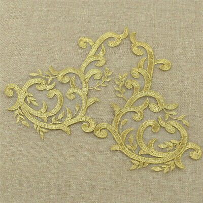 1 Pair Gold Lace Wedding Applique Sewing Embroidery DIY Bridal Decor Craft Coat