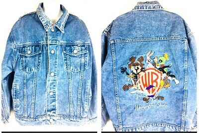 VTG WARNER BROS KIDS Looney Tunes Embroidered Denim Jean Jacket Boys Girls Large