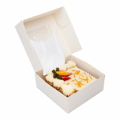 "Paper Take Out Container, Paper To Go Box with Window - White - Square 3.9"" - -"