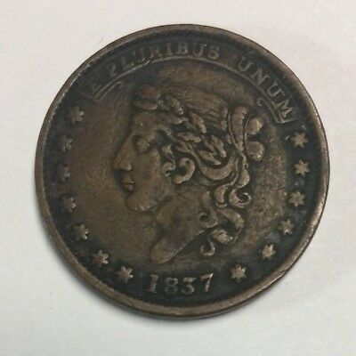 "1837 ""May the tenth Specie Payments Suspeneded"" Hard Times Token SKU#19001"