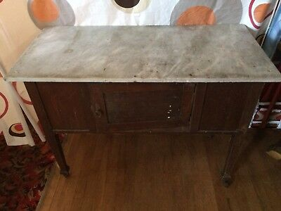 Antique Wash Stand Kitchen Dresser - Castors Marble Top Victorian Edwardian