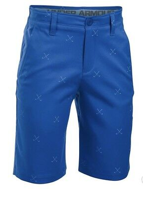 Under Armour Match Play Boys Printed Golf Shorts Size 14 New Blue