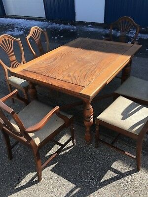 Antique Country French Draw Leaf Oak Dining Table with 6 Chairs