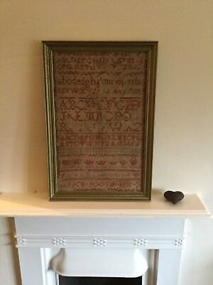 1833 Georgian Needlework Band Sampler Tapestry Alice Booth Framed 185 Years Old