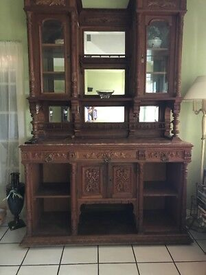 Large Elaborate Ornate Intricate Carved Wood Antique Breakfront Rose Marble Top