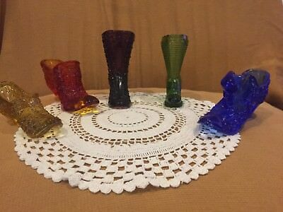 Antique Glass Shoes/Slippers/Boots  - Lot of 5