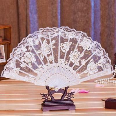 1PC Multi-color Dance Party Wedding Lace Flower Folding Hand Held Flower Fan T