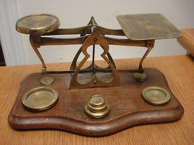 NICE!  Rare full size Antique BRISTOL ENGLAND Postal Scale Balance BRASS ON WOOD