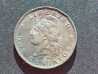1893 Argentina Dos Centavos Large Coin