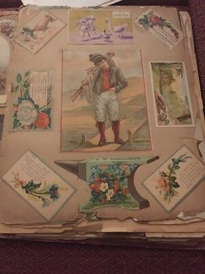 VICTORIAN TRADE CARD LOT ON PAGES 1880's  1890's