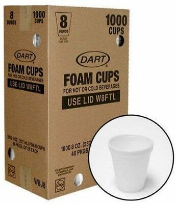 Dart White Foam Cup Hot/Cold Beverage Commercial Disposable Foodservice 1000/8oz