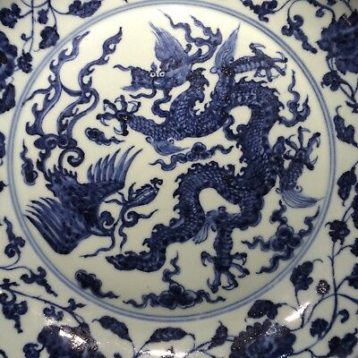 Chinese blue white dragon porcelain charger