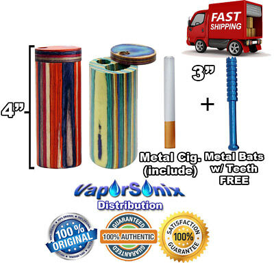 "4"" Round Wooden Tobacco Dugout Spring Load w/ 3"" Metal One Hitter + FREE 3"" Bat"