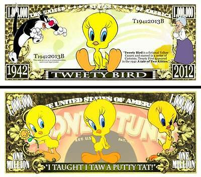 Tweety Million Dollar Bill **Novelty Money** FREE Sleeve