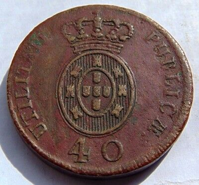 Amazing Rare Portugal Kingdom Coin - King Regent D. Joao (40 Reis) Pataco 1813 F