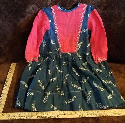 Antique EARLY Primitive RED WHT/BLUE CALICO Girl's Dress ~ 19th C. PATRIOTIC ~