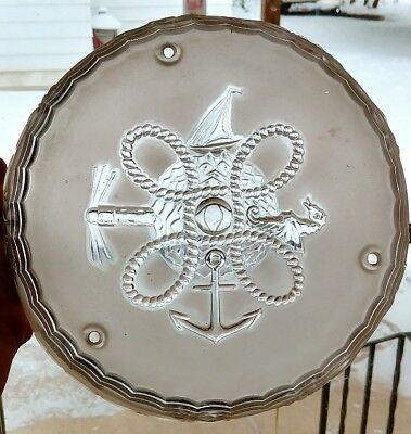 """Vintage NAUTICAL Sailboat 10"""" Round Frosted Glass 3 Hole Ceiling Light Fixture"""