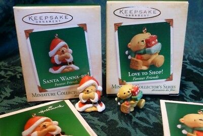 Hallmark Forever Friends #1 Santa Wanna-Be & #2 Love to Shop Miniature Ornaments
