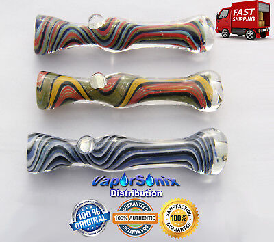 """(2) 3"""" Color Swirl Lines Glass Pipe with Smoking Bowl Tobacco - FAST SHIPPING"""