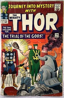 THOR #116 May 1965 JOURNEY INTO MYSTERY TRIAL W/ LOKI - Condition -  2.5 GD+