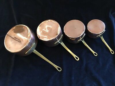 Set of antique copper saucepans- English - French