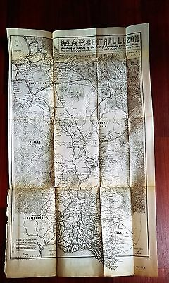Rare 1899 Military Sketch Map Central Luzon Gen MacArthu Philippines Manila Bay
