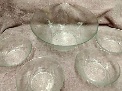 Coca Cola Embossed Frosted Snack and/or Punch Bowl 3 Qt. plus 4 small salad bowl