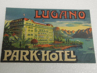 Authentic old  luggage litho label for Lugano Park Hotel-design by Brugger A.G.
