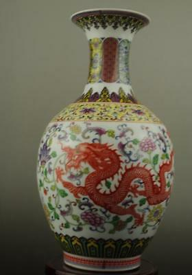 Chinese old hand-made colour enamels porcelain longfeng pattern vase