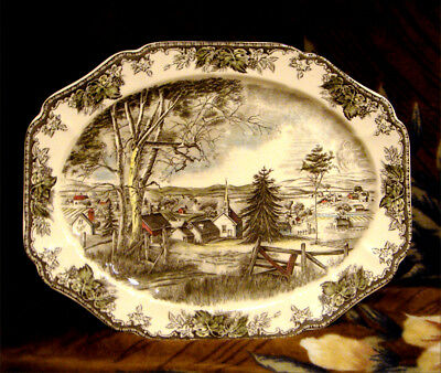 """Johnson Bros *friendly Village* Large Oval Serving Platter 20"""" Made In England"""