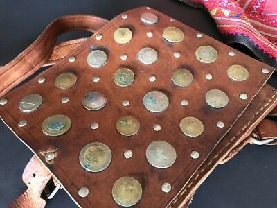 Old Moroccan Coin Water Sellers Bag …in beautiful full leather