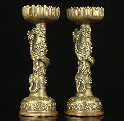 China Collectible Old Handwork Carving Bronze Dragon Statue Candle Stick
