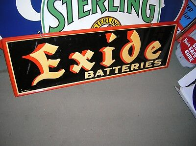 1957 Exide Battery Sign, Super Condition Picture Frame Edge Highly Embossed Nos