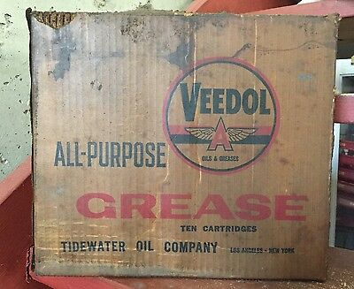 Vintage VEEDOL All Purpose Grease Ten Cartridge Case Box TIDEWATER Oil Co. Sign