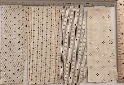 "Vintage quilt fabric lot of 55 BLACK on WHITE Calicos,tiny prints 7.5""x2.5"" 🌸"
