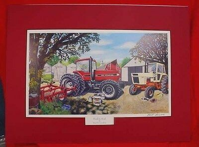 """Russell Sonnenberg I-H & Case Tractor  Print """"head To Head"""" - Matted - Signed"""