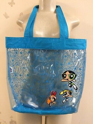 Vintage POWERPUFF GIRLS Character Clear Blue Trim Plastic Tote & VINTAGE POWERPUFF Girls Plastic Plates Lot Of 2 - $14.99   PicClick
