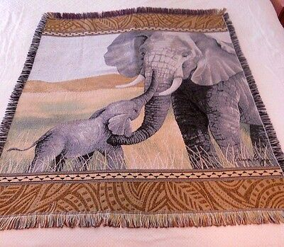 Elephant Africa Theme Fringed Tapestry Throw Wall Decor 48 in. x 58 in. - NWOT