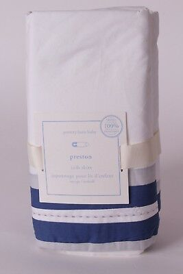 NWT Pottery Barn Kids Preston crib skirt blue gray white