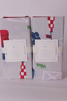 set/2 NWT Pottery Barn Kids Vintage Cars crib fitted sheets