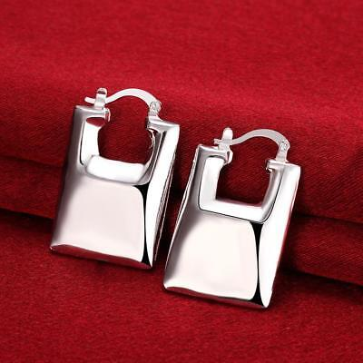 Womens 925 Sterling Silver Elegant Handbag Purse Shaped Vogue Hoop Earrings E203