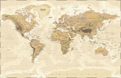 World Map| Home Office Decor Large Canvas Wall Art Prints | Worldmap| 100x150cm