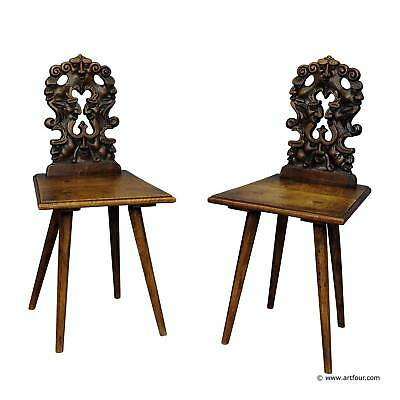 a pair renaissance style carved children chairs ca. 1890