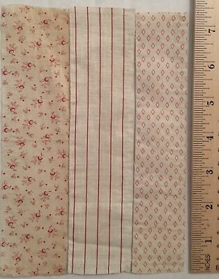 "Lot of 53 Vintage quilt fabric PINK Calicos, Gingham,Florals 7.5""x2.5"" 🌸"