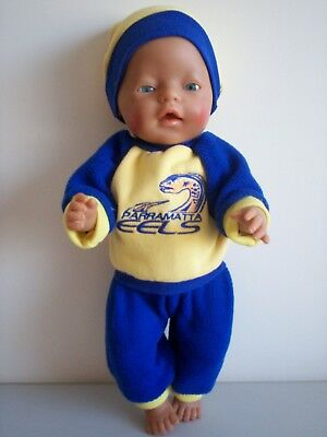 """Baby Born 17""""  Dolls Clothes Parramatta Eels Cheerleader Tracksuit Outfit"""