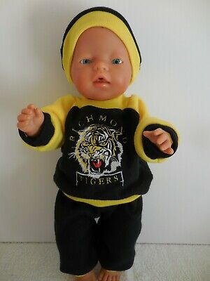 """Baby Born 17""""  Dolls Clothes Richmond Tigers Cheerleader Tracksuit Outfit"""