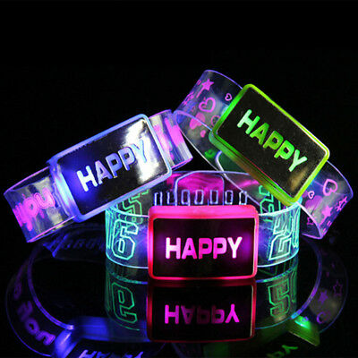 Sound Controlled Voice LED Light Up Bracelet Activated Glow Flash Bangle Hot
