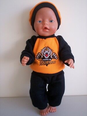 """Baby Born 17""""  Dolls Clothes West Tigers Cheerleader Tracksuit Outfit"""