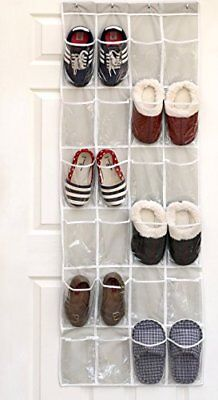 Organizer Simple Houseware Crystal Clear Over the Door Hanging Shoe 24 Pockets
