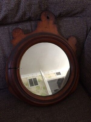 Old Antique Wooden  Round Mirror Rustic